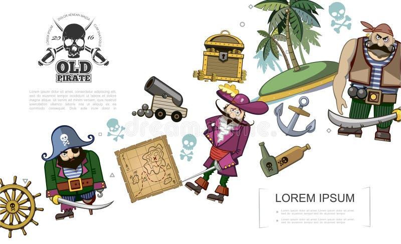 Концепция пиратов мультфильма иллюстрация штока
