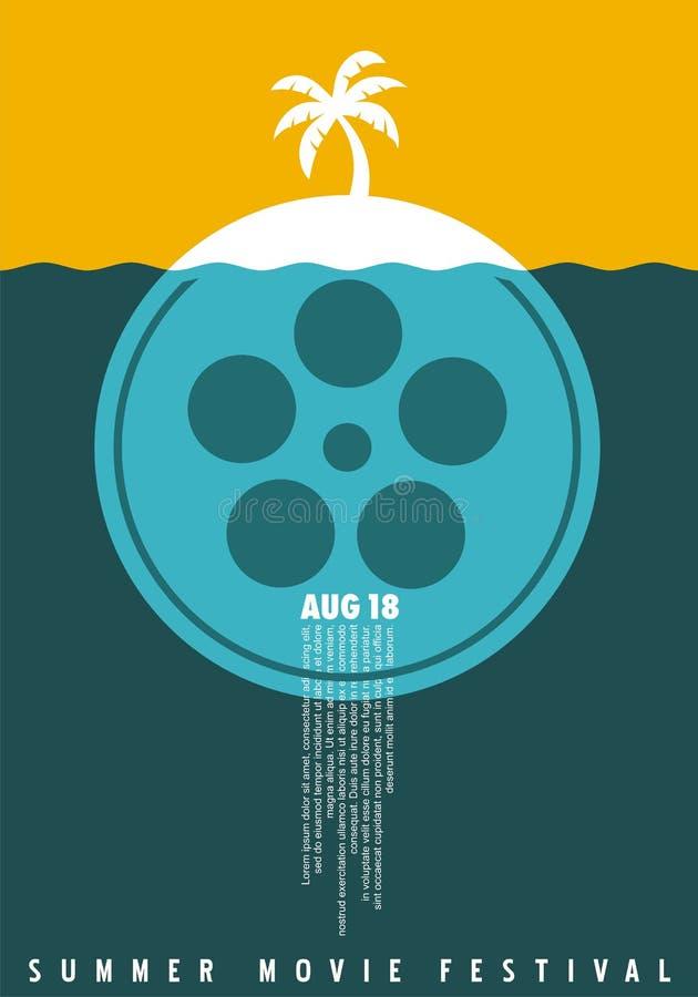 Концепция плаката фестиваля фильма лета простая минималистская иллюстрация вектора