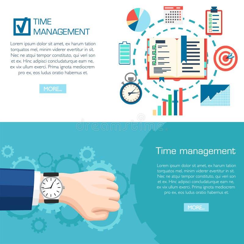 Концепция планирования контроля времени Наручные часы в наличии Планирование, организация времени дела Иллюстрация вектора изолир иллюстрация штока