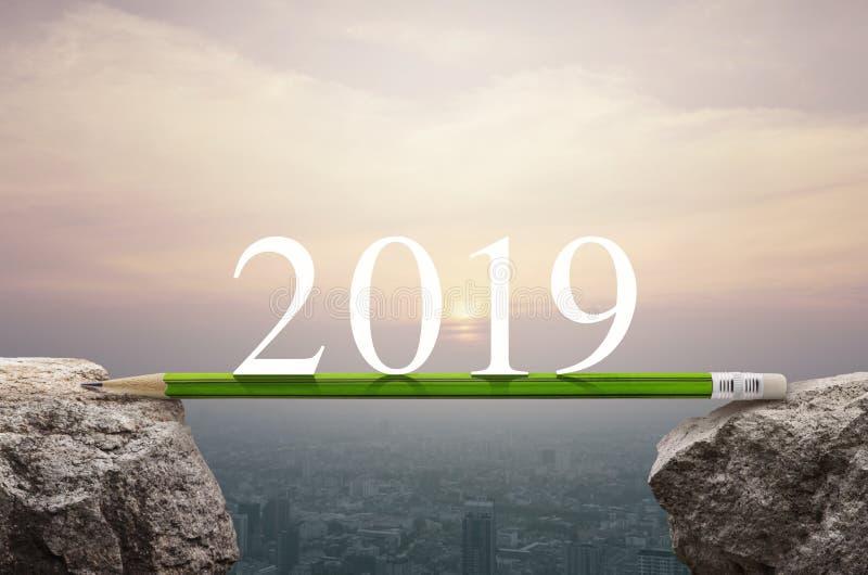 Концепция планирования стратегии успеха в бизнесе, счастливый Новый Год 2019 стоковое изображение