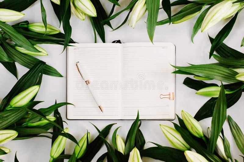 Концепция планирования с открытым ноутбуком с дорогостоящим пером, окруженным зелеными листьями на белом фоне Плоский слой, сверх стоковое изображение
