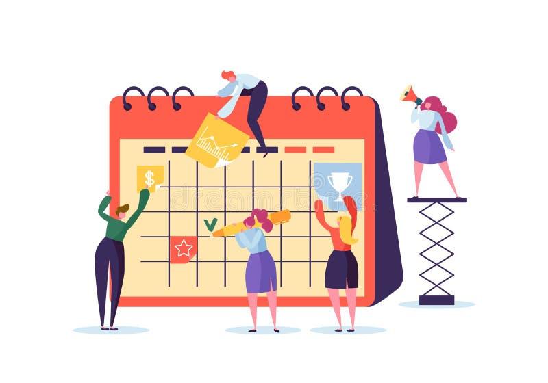 Концепция план-графика планирования при характеры дела работая с плановиком Команда работает совместно Плоские люди Teamworking иллюстрация штока