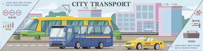 Концепция плоского городского транспорта красочная бесплатная иллюстрация