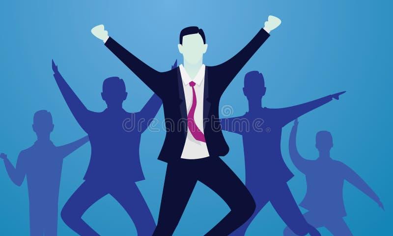 Концепция победы дела Счастливые успешные бизнесмены иллюстрация вектора