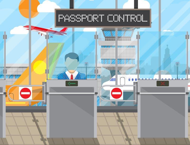 Концепция пограничного контроля, офицер иммиграции иллюстрация штока
