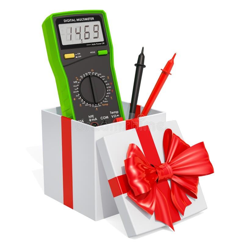 Концепция подарка, цифровой вольтамперомметр внутри подарочной коробки перевод 3d иллюстрация вектора