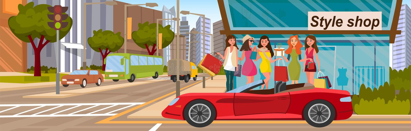 Концепция подруг ходя по магазинам Нагрузите в красный автомобиль иллюстрация вектора