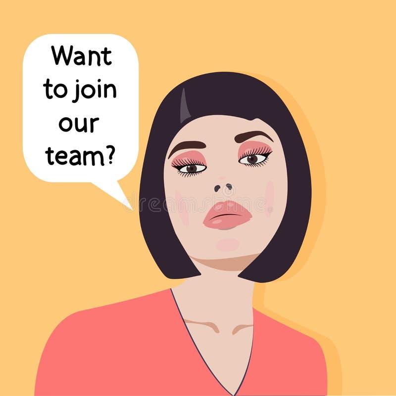 Концепция - поиск работы - вы хотите присоединяться к нашей команде? Работодатель смогите конструктор каждый вектор оригиналов пр иллюстрация вектора