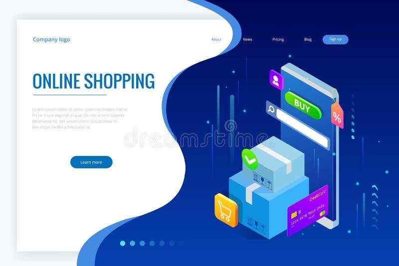 Концепция покупок равновеликого вектора онлайн Шаблон страницы посадки Современный ультрафиолетов дизайн для интернет-страницы сб иллюстрация штока