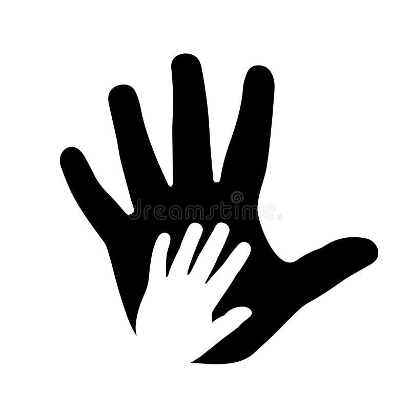 Концепция помощи, взрослый и руки ребенка иллюстрация вектора