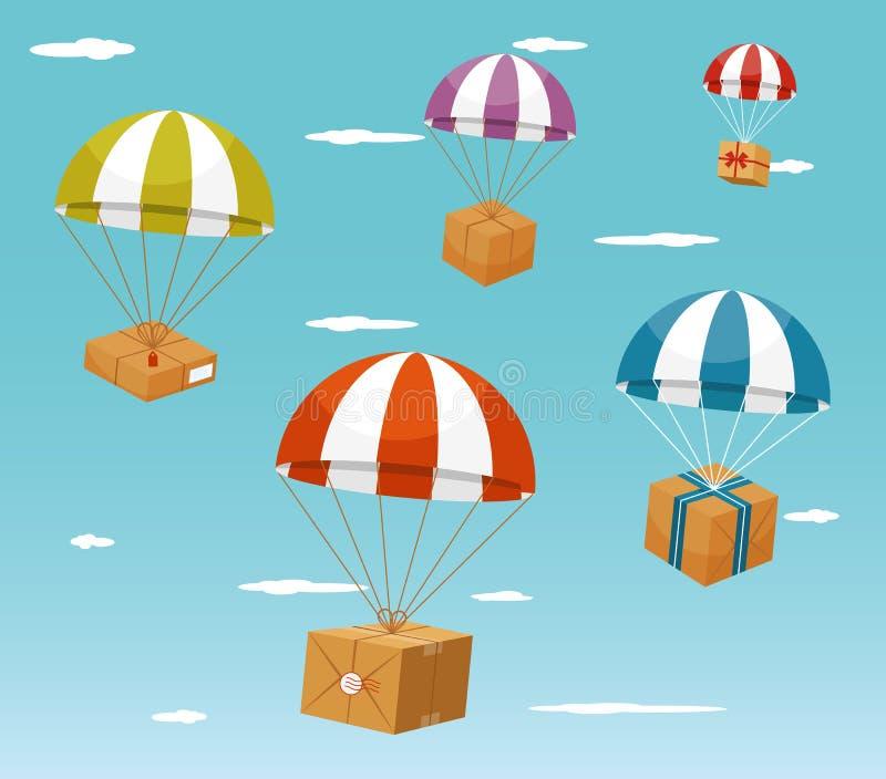 Концепция поставки - подарочные коробки на парашюте иллюстрация вектора