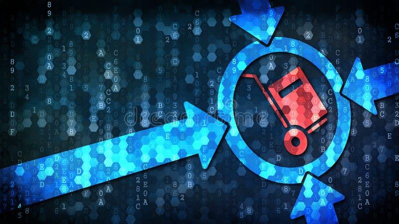 Концепция поставки: Ручная тележка - знак на предпосылке цифров иллюстрация вектора