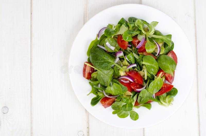 Концепция потери веса, здорового образа жизни Светлый салат от свежих овощей и трав стоковые изображения