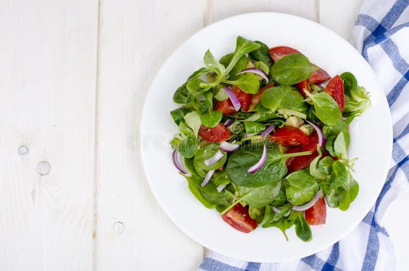 Концепция потери веса, здорового образа жизни Светлый салат от свежих овощей и трав стоковое фото rf