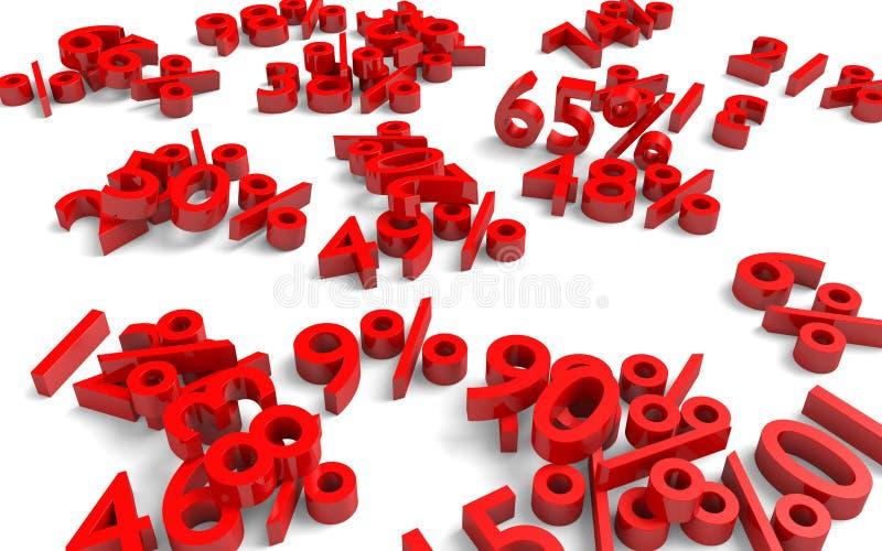 Концепция потери рецессии и дела красных номеров и процентов упаденных на том основании иллюстрация штока