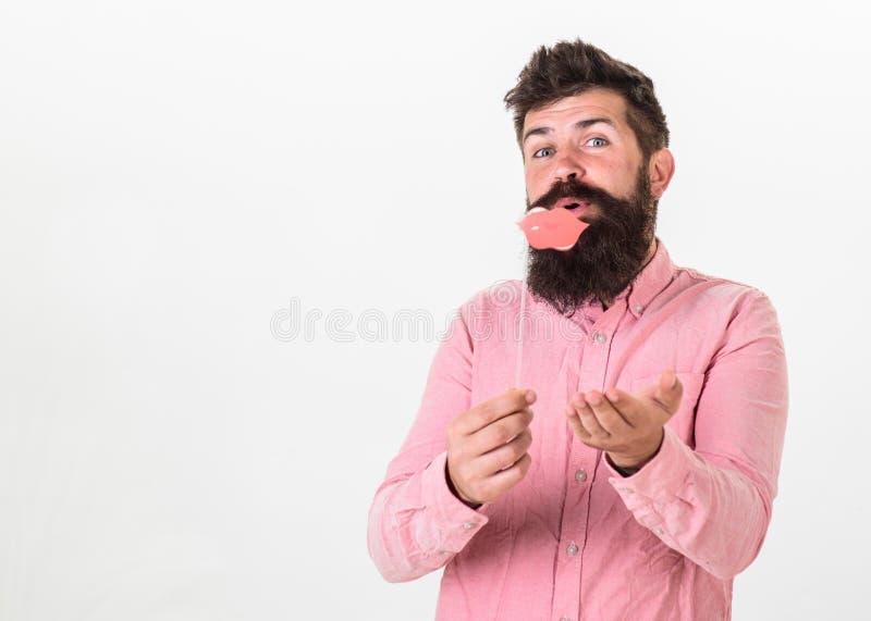 Концепция потехи будочки фото Битник с бородой и усик на жизнерадостной стороне представляя с упорками будочки фото, космосе экзе стоковые изображения