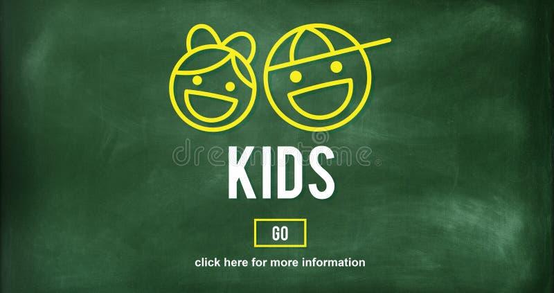 Концепция потехи поколения отрочества поколения детей иллюстрация штока