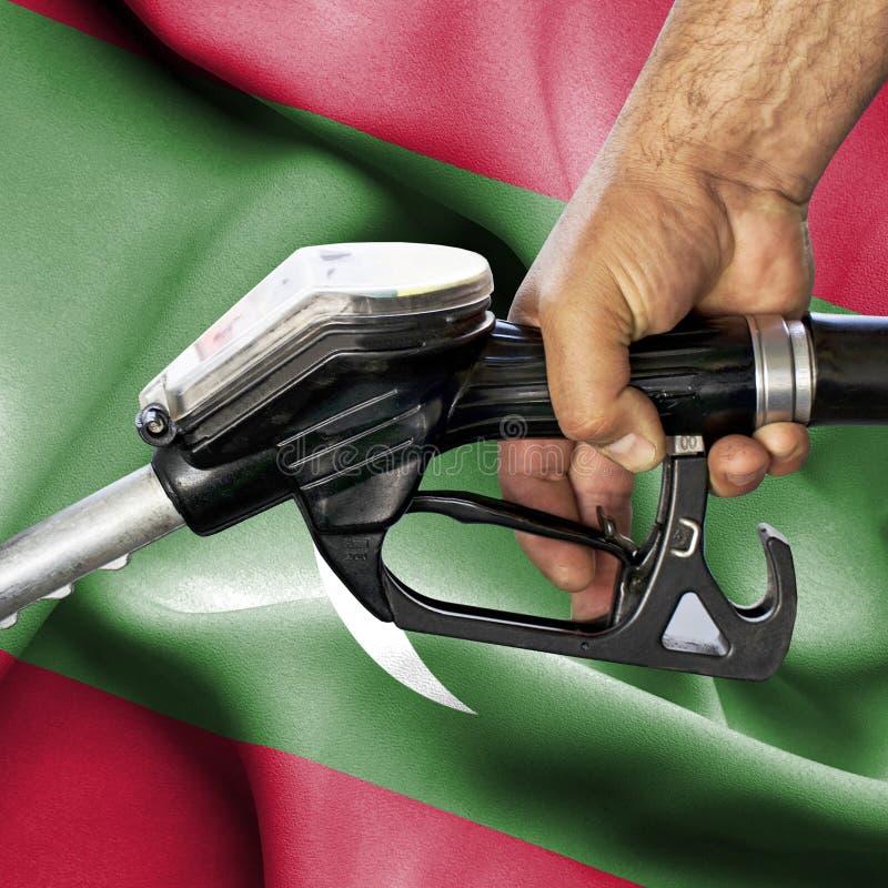 Концепция потребления бензина - шланг удерживания руки против флага Мальдивов стоковые фотографии rf