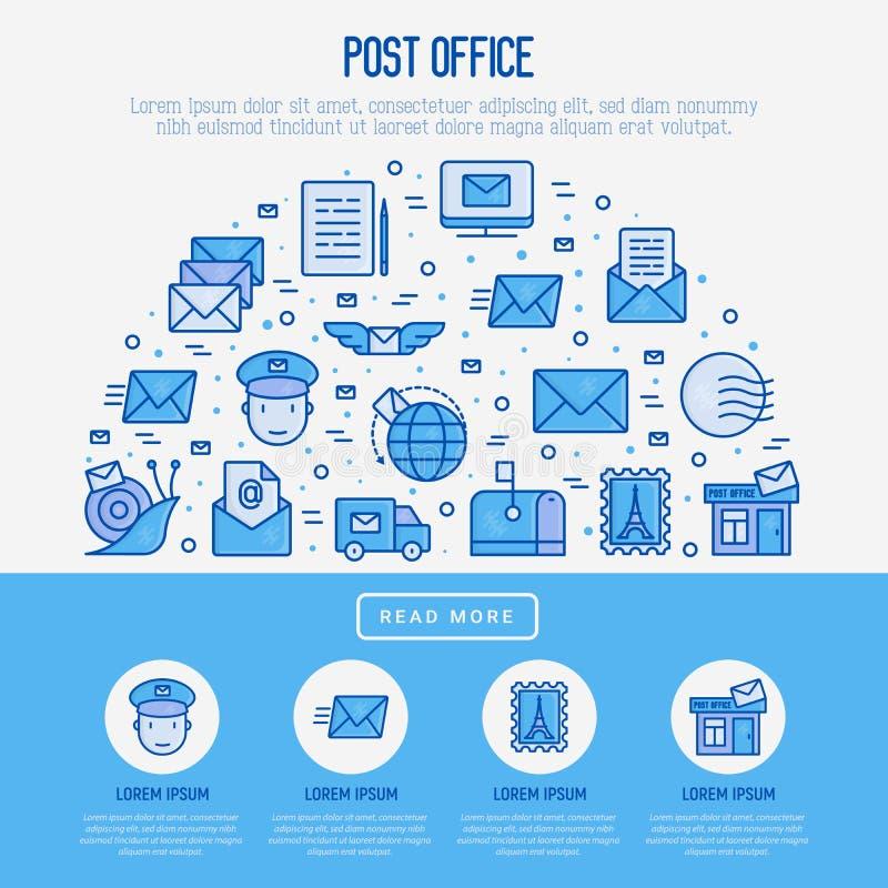 Концепция почтового отделения в полкруга иллюстрация вектора