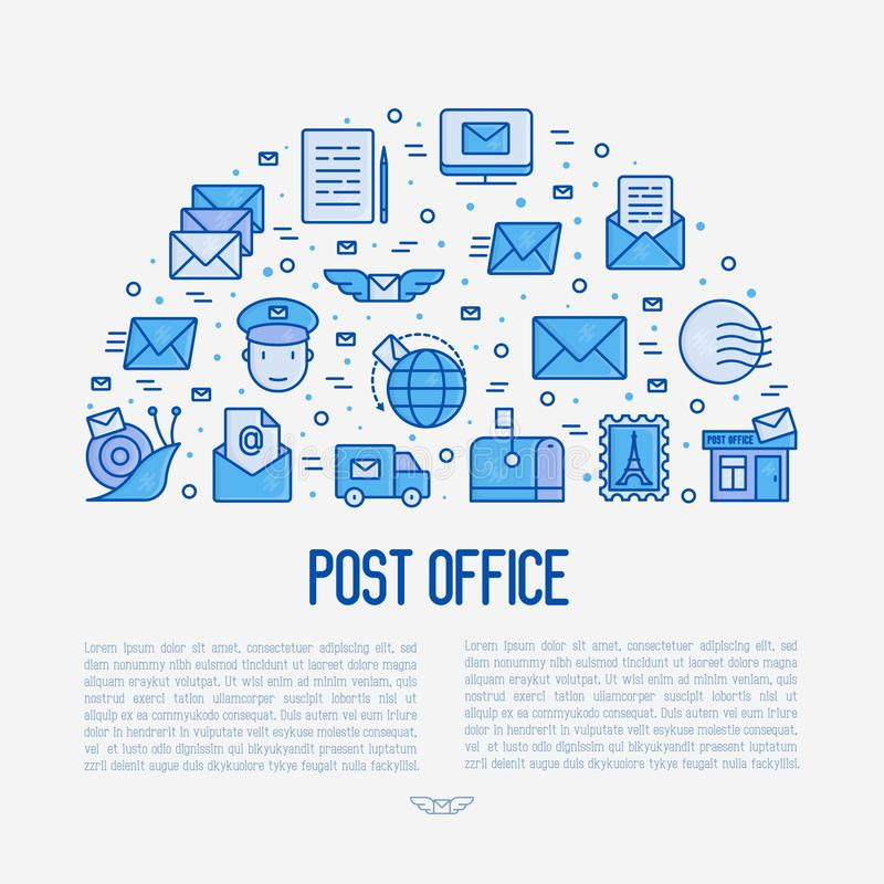 Концепция почтового отделения в полкруга иллюстрация штока