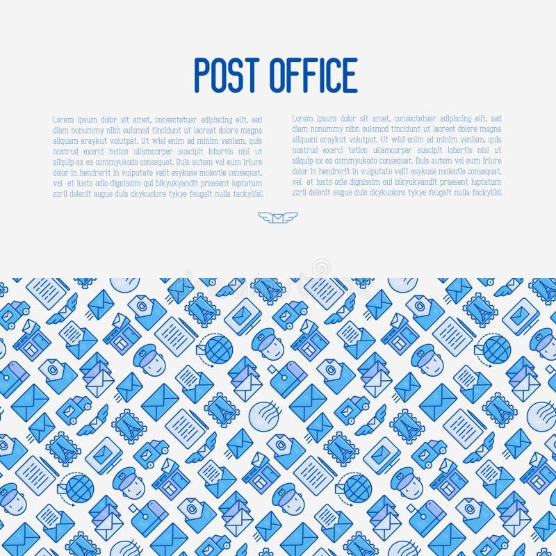 Концепция почтового отделения с тонкой линией значками бесплатная иллюстрация