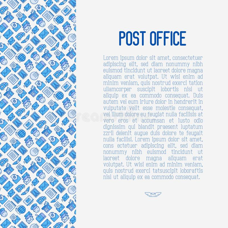 Концепция почтового отделения с тонкой линией значками иллюстрация вектора