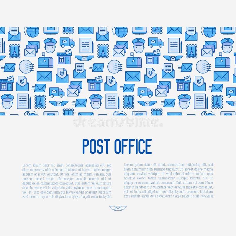 Концепция почтового отделения с тонкой линией значками иллюстрация штока