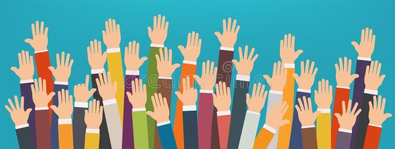 Концепция поднятых вверх рук Вызываться добровольцем призрение, партия иллюстрация штока