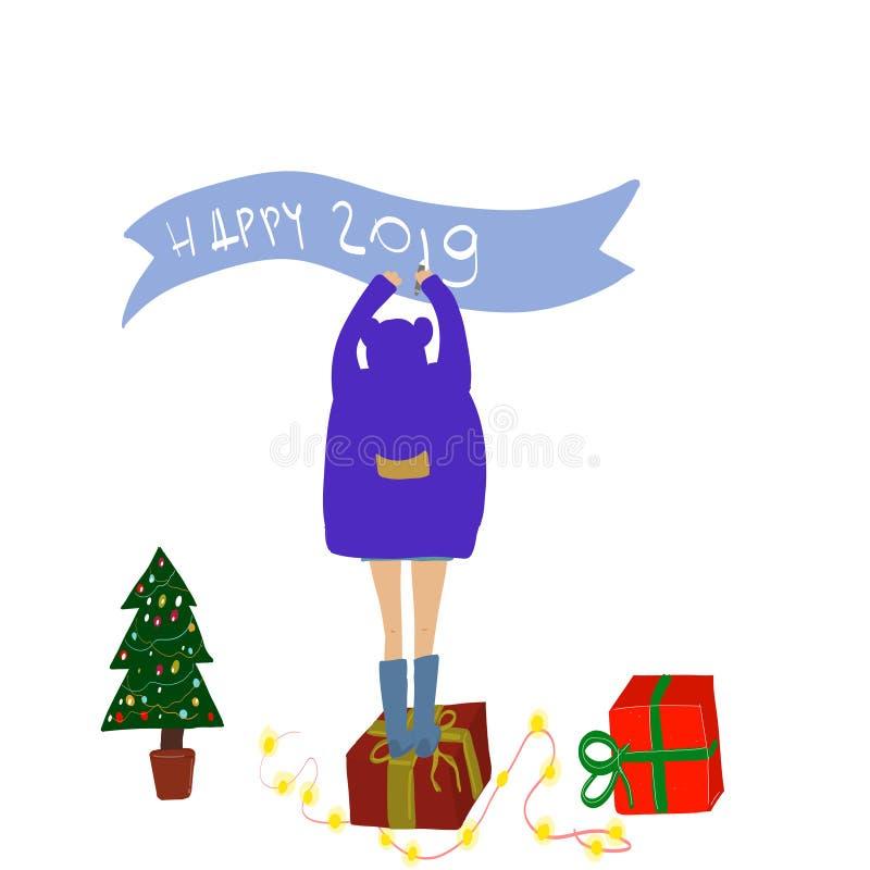 Концепция праздников девушки и дерева шаржа Иллюстрация EPS 10 вектора иллюстрация штока