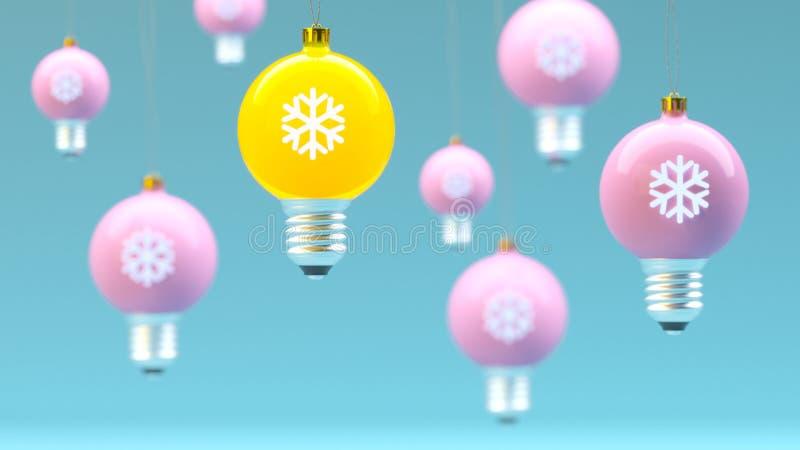 Концепция предпосылки рождества и Нового Года творческая: идея лампочки шариков рождества на голубой предпосылке иллюстрация штока