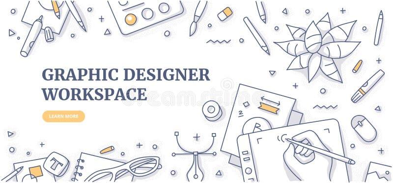 Концепция предпосылки Doodle Worspace график-дизайнера иллюстрация вектора