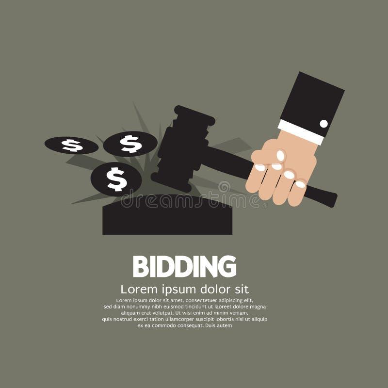 Концепция предлагать цену или аукциона иллюстрация вектора