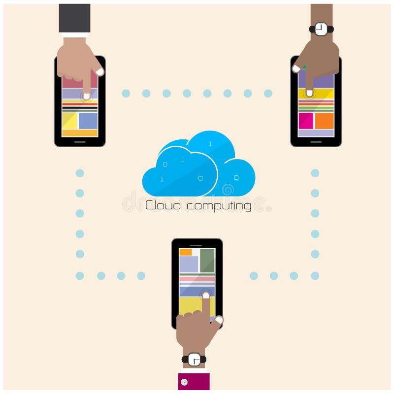 Концепция предпосылки плоской технологии облака вычисляя Хранение данных иллюстрация штока