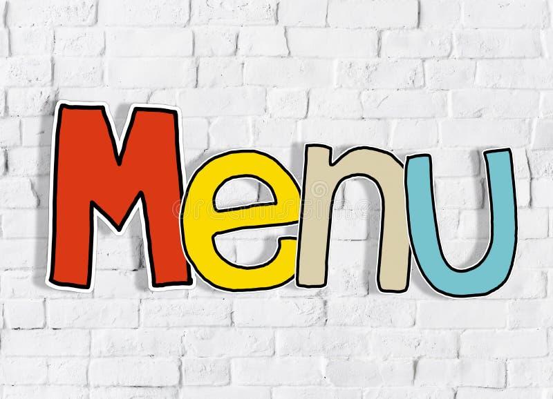 Концепция предпосылки текста отдельного слова кирпичной стены меню чистая стоковая фотография rf