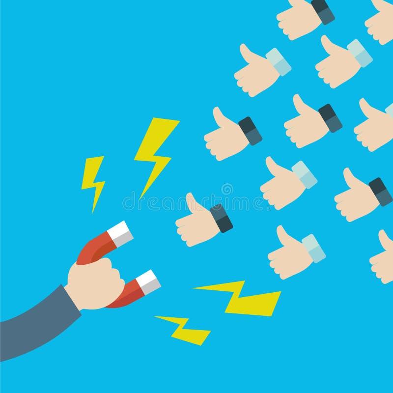 Концепция привлекать большой палец руки вверх и клиентов от социальной сети Удерживающий электромагнит руки Иллюстрация вектора в бесплатная иллюстрация
