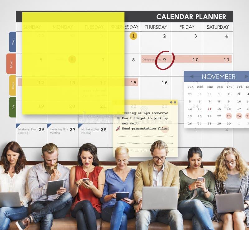 Концепция примечания организатора планирования плановика календаря стоковое фото rf