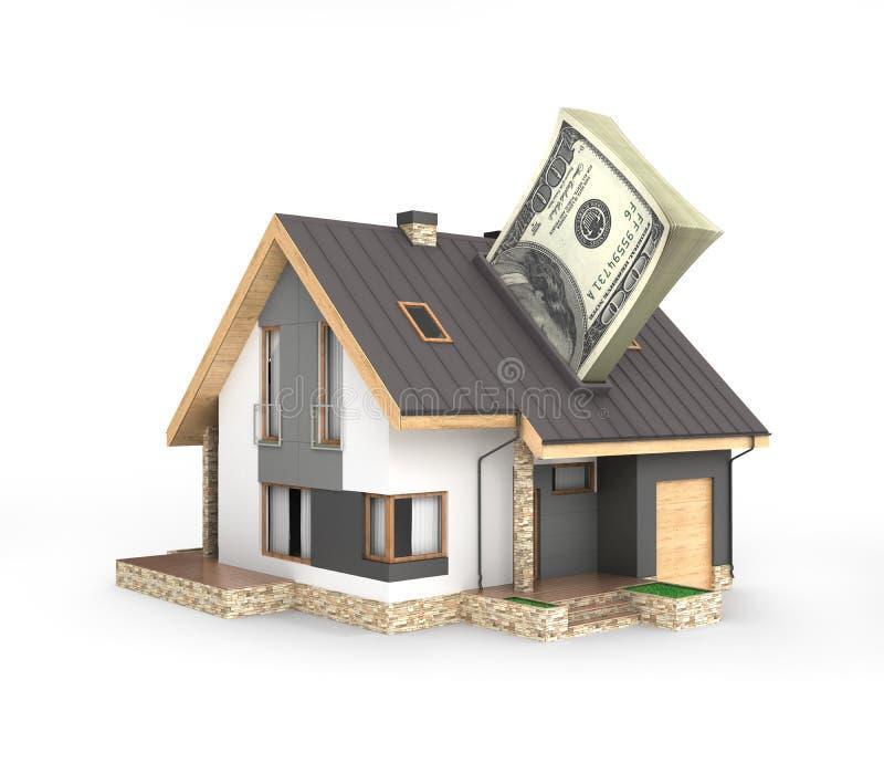 Концепция приобретения или оплаты для расквартировывать дом со стогом долларовых банкнот американца 100 денег изолированных на бе бесплатная иллюстрация
