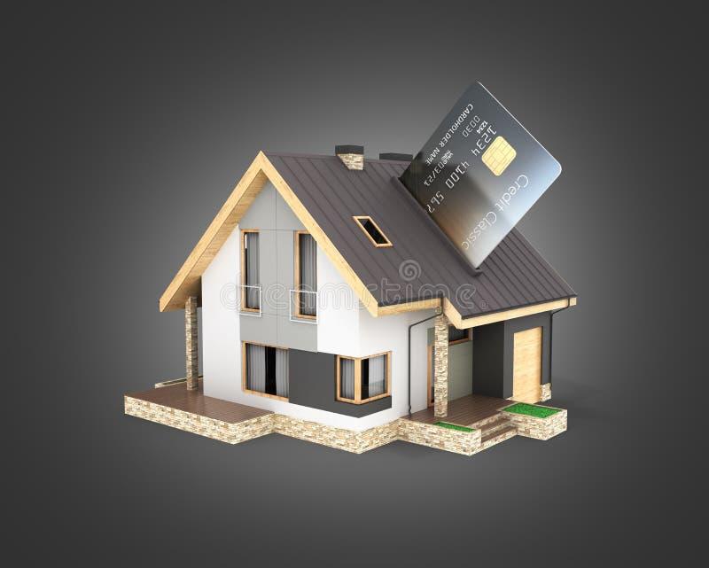 Концепция приобретения или оплаты для расквартировывать иллюстрацию дома как терминал pos с кредитной карточкой изолированной на  иллюстрация вектора