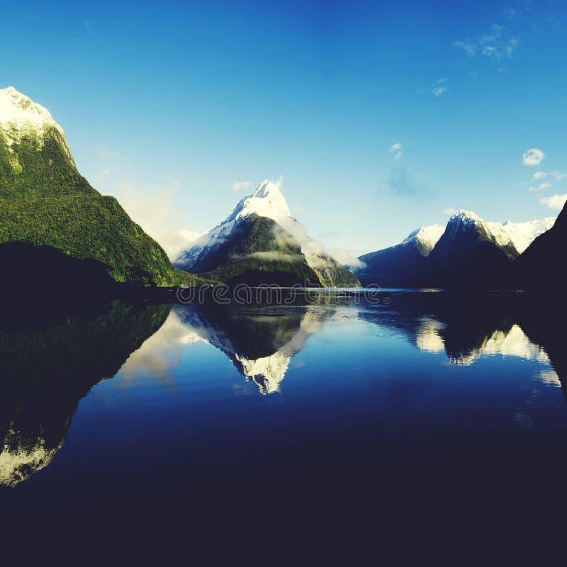 Концепция природы Milford Sound Fiordland Новой Зеландии сельская стоковое фото