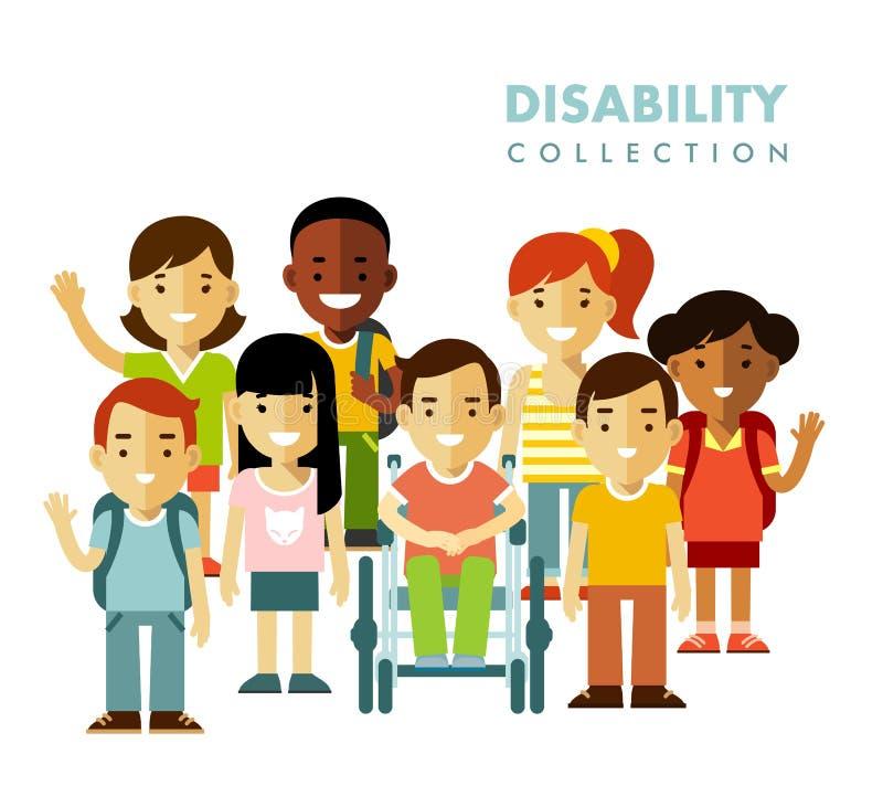 Концепция приятельства детей инвалидности бесплатная иллюстрация