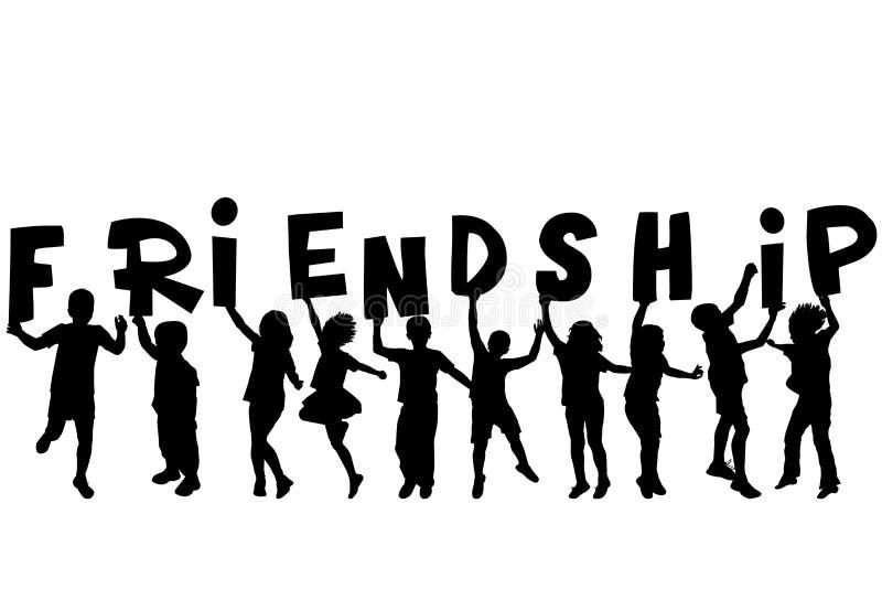 Концепция приятельства с черными sillhouettes детей держа l иллюстрация штока