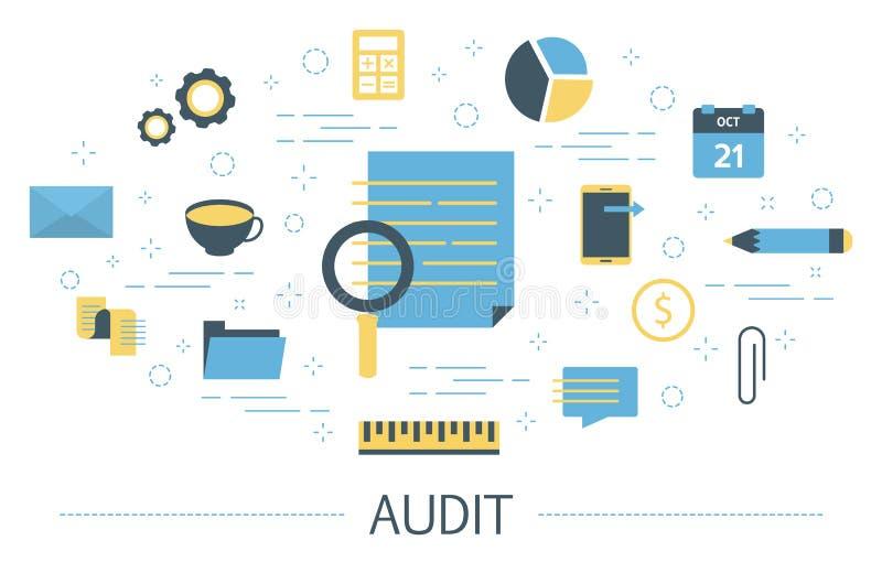 Концепция проверки Коммерческие информации исследуют и анализ бесплатная иллюстрация