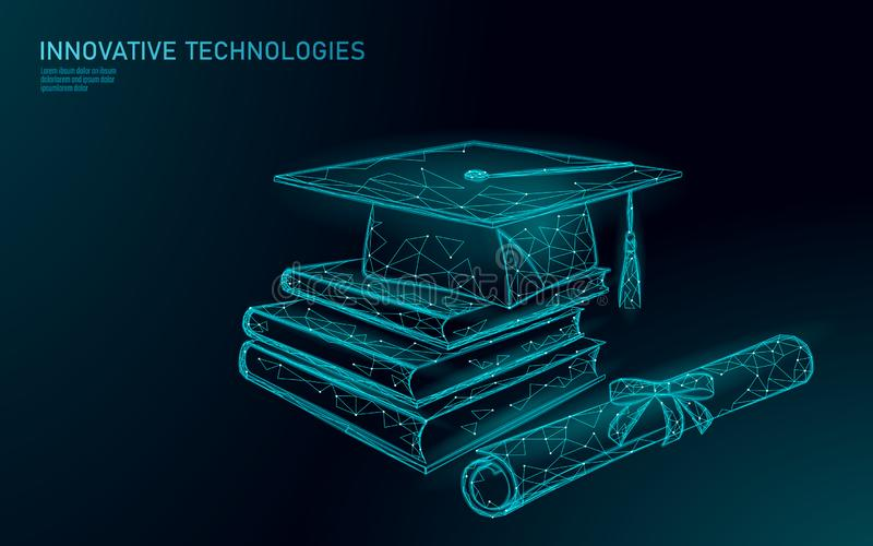 Концепция программы сертификата обучения по Интернету далекая постдипломная Низкое поли 3D представить крышку градации, книги, ди иллюстрация штока