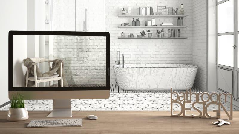 Концепция проекта архитектора дизайнерская, деревянный стол с дизайном ванной комнаты слов ключей, писем 3D и настольного компьют стоковые изображения rf