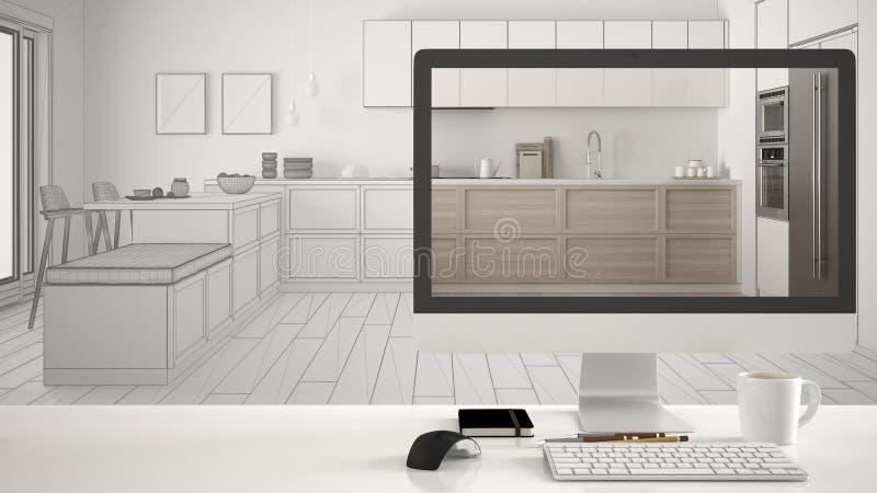 Концепция проекта дома архитектора, настольный компьютер на белом столе работы показывая современную скандинавскую кухню, desi ин бесплатная иллюстрация
