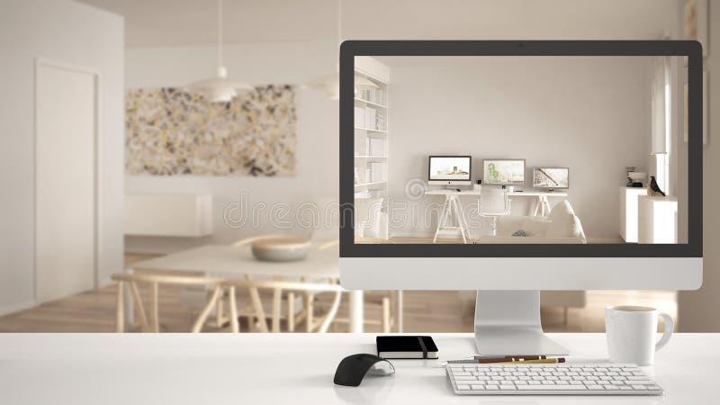 Концепция проекта дома архитектора, настольный компьютер на белом столе работы показывая современную живущую комнату с домашним р стоковое изображение