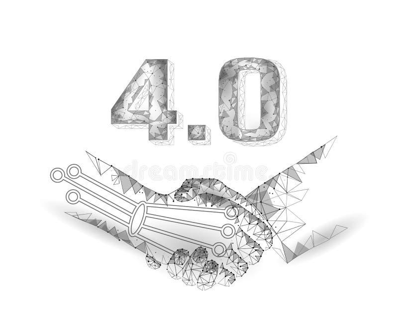 Концепция промышленного переворота низкого поли рукопожатия будущая E Соединение 0 AI искусственное и человеческое Онлайн техноло иллюстрация вектора