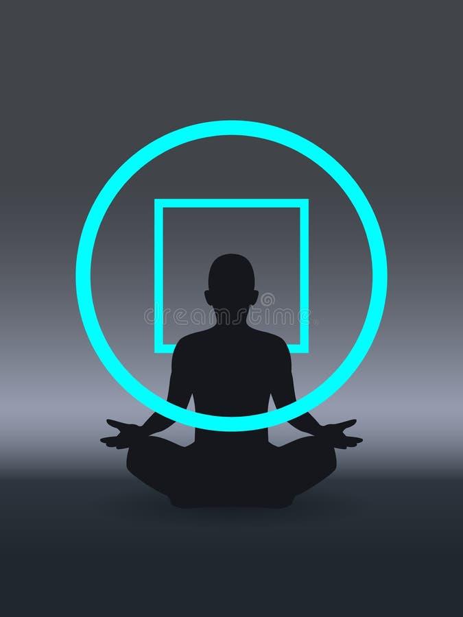 Концепция психотерапии, умственное благополучие, мысль позитва, осведомленность собственной личности и mindfulness, сопереживание иллюстрация вектора