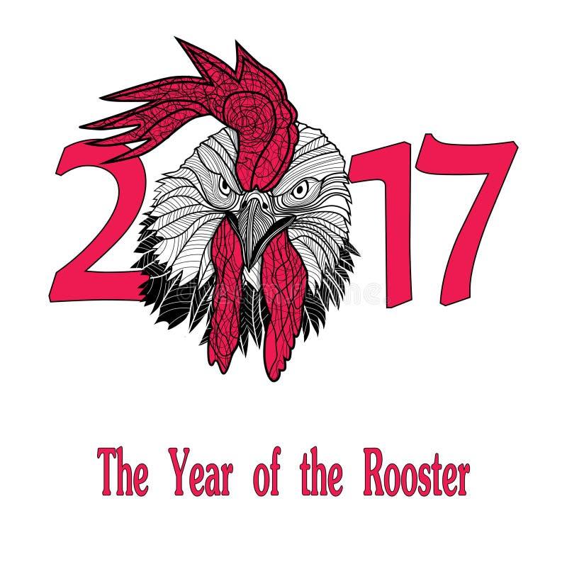 Концепция птицы петуха китайского Нового Года петуха Иллюстрация эскиза вектора нарисованная рукой иллюстрация вектора