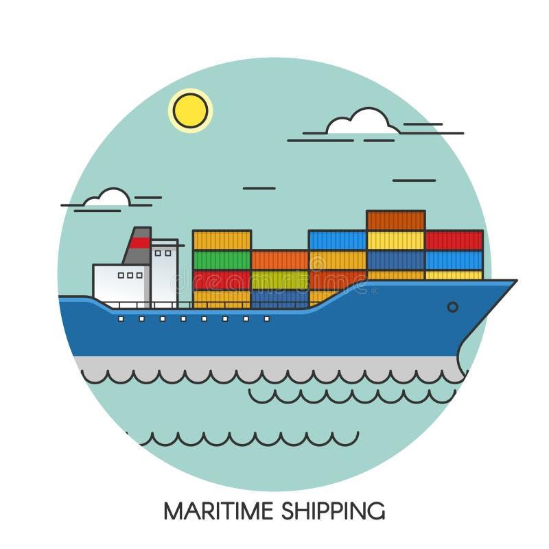 Концепция плана корабля перевозки плоская Снабжение перехода груза морское глобальное Транспорт морским путем иллюстрация вектора